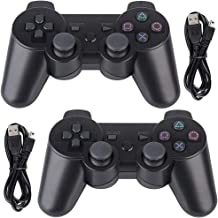 Tidoom PS3 Controller 2 Pack Wireless Bluetooth 6-Axis Gamepad Controllers Compatible for Playstation 3 Dualshock 3 Black 2pcs