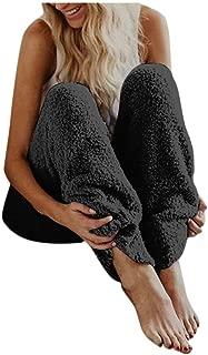 Sunhusing Women's Solid Color Plush Fleece Warm Pants Trousers Winter Casual Cozy Loose High Waist Leggings