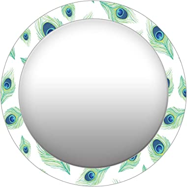 999Store Printed White Peacock Feathers Round Mirror (MDF_17X17 Inch_Multi)