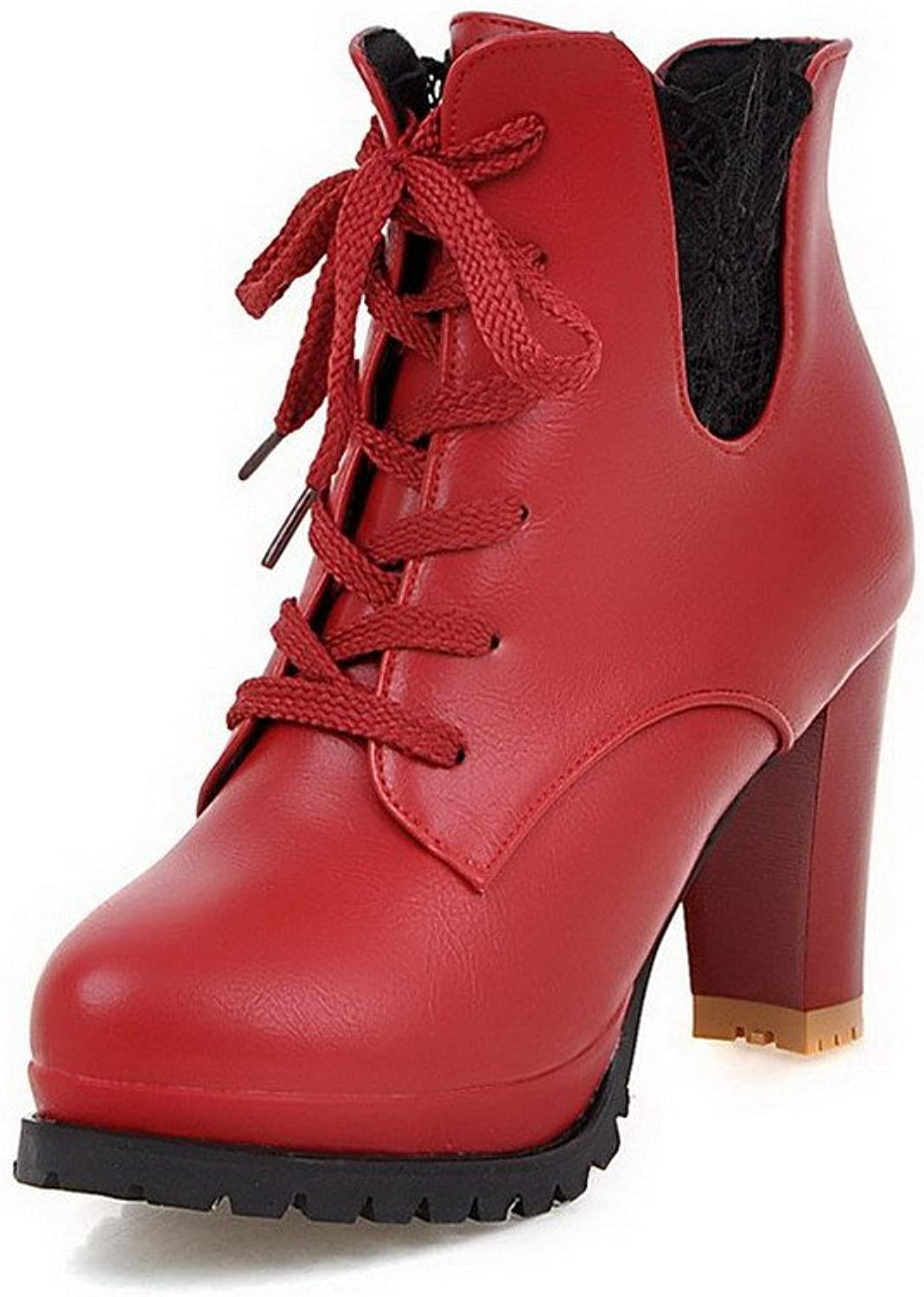 WeenFashion Women's Low-top Lace-up Soft Material High-Heels Round Closed Toe Boots