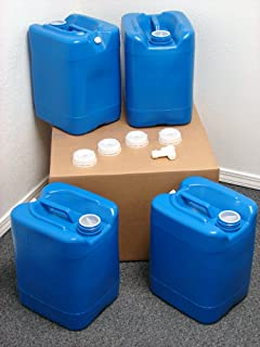 API Kirk Containers 5 Gallon Samson Stackers, Blue, 4 Pack (20 Gallons), Emergency Water Storage Kit Clean! - Boxed! - Free Spigot Cap Wrench!