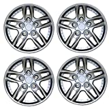 Tuningpros WC3-15-515-S - Pack of 4 Hubcaps - 15-Inches Style Snap-On (Pop-On) Type Metallic Silver Wheel Covers Hub-caps