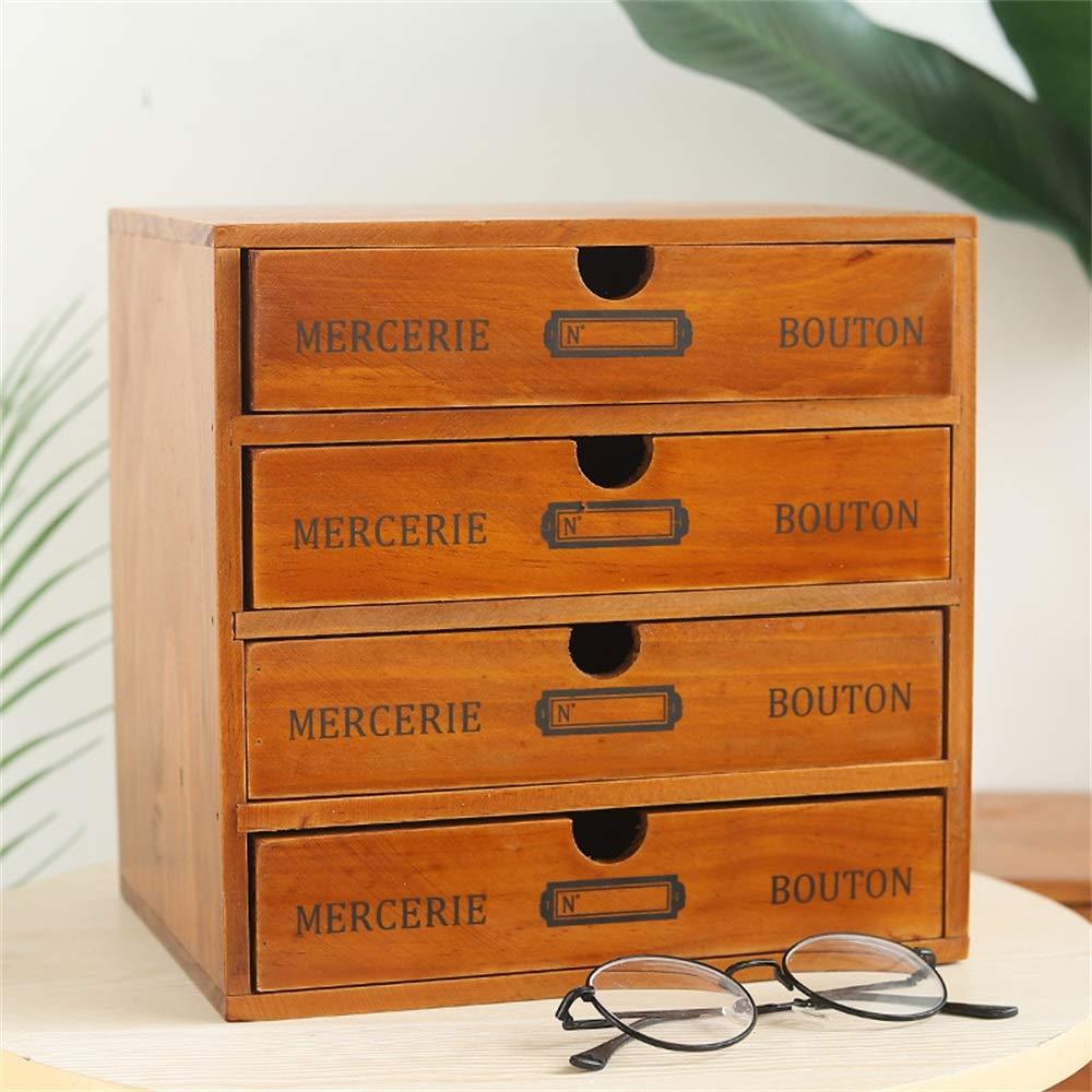 Baffect Caja de Almacenamiento con cajones de Madera Caja de cajones Vintage de 1 Piso Caja de joyería Caja de Madera con Organizador de cajones Mesa de Madera para Almacenamiento, 1 Piso (