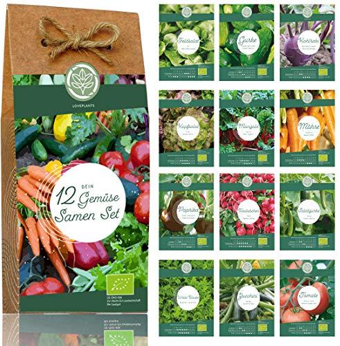 Gemüse Samen Set – 12 Sorten Bio Gemüse Saatgut. Perfektes Gemüseset für Garten und Balkon. Ideal als Geschenk für Frauen und Männer.