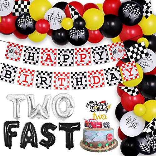 Two Fast Birthday Party Decorations Race Car Balloon Garland Kit Racing Car 2nd Birthday Party Supplies