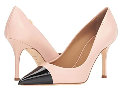 Tory Burch Penelope 85mm Cap Toe Pump (Shell Pink/Perfect Black) Women