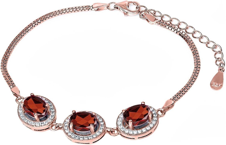 10.30 Ct Oval Red Garnet 18K pink gold Plated Silver Bracelet