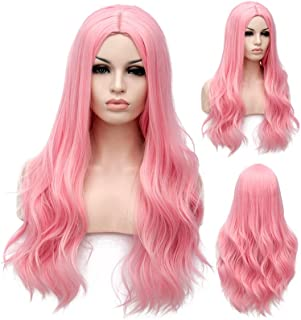 Pink Long Wig for Girls Women ,Winshope Curly Wavy Natural Hair Wigs for Cosplay Costumes Halloween Party Heat Resistant S...