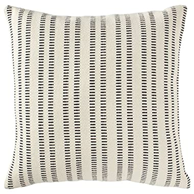 Stone & Beam French Laundry Pillow, 17  x 17 , Ivory, Black