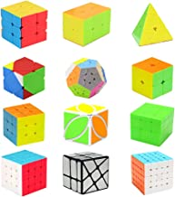 H XD global Speed Cube Set 2x2 3x3 Pyramid Magic Cube, Easy Turning and Smooth Play, Intelligence Puzzle Toy(12 Pack)