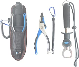 WQQW Fishing Pliers Fish Grip Gripper Tools Set Tungsten Steel Line Cutters Saltwater Resistant with Sheath Lanyard