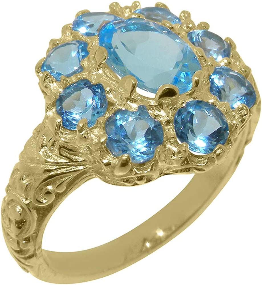 Solid 10k Gold Natural Blue Popularity Topaz Max 79% OFF 4 - Cluster Womens Ring Sizes