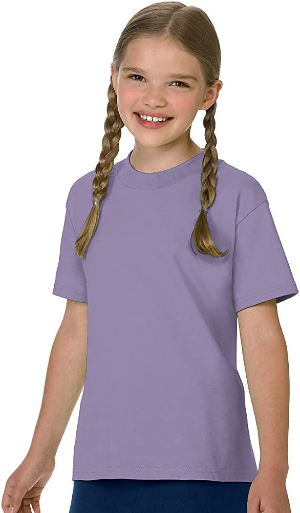 Hanes Authentic TAGLESS Boys' Cotton T-Shirt_Lavender_Small