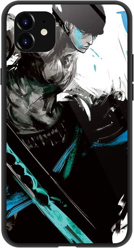 Phone Case Compatible with iPhone 11 Pro, Anime One Piece Cool Zoro Pattern Tempered Glass Back Cover Soft Silicone Anti Scratch Bumper Design Phone Cases 5.8 inch