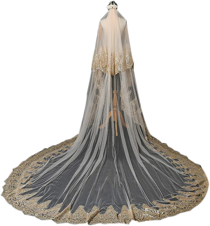 Bridal Wedding Veil 2T Trailing Elegant Cathedral Veil Long Cut Edge with Comb Champagne gold 350CM