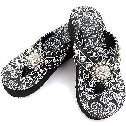 Western Peak Women's Rhinestone Concho White Lace Studs PU Leather Flip Flop Sandal (7)