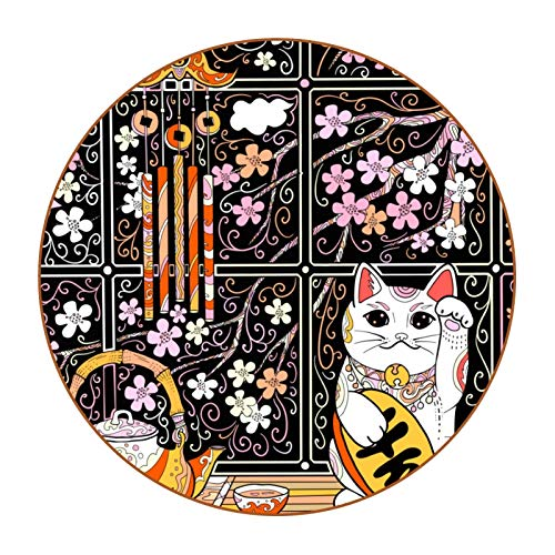 Drink Coaster Ceramic Glass Absorbent Stone Coasters Suitable for all Kinds of CupsJapanese Retro Cherry Blossoms Lucky Cat Teapot Campanula