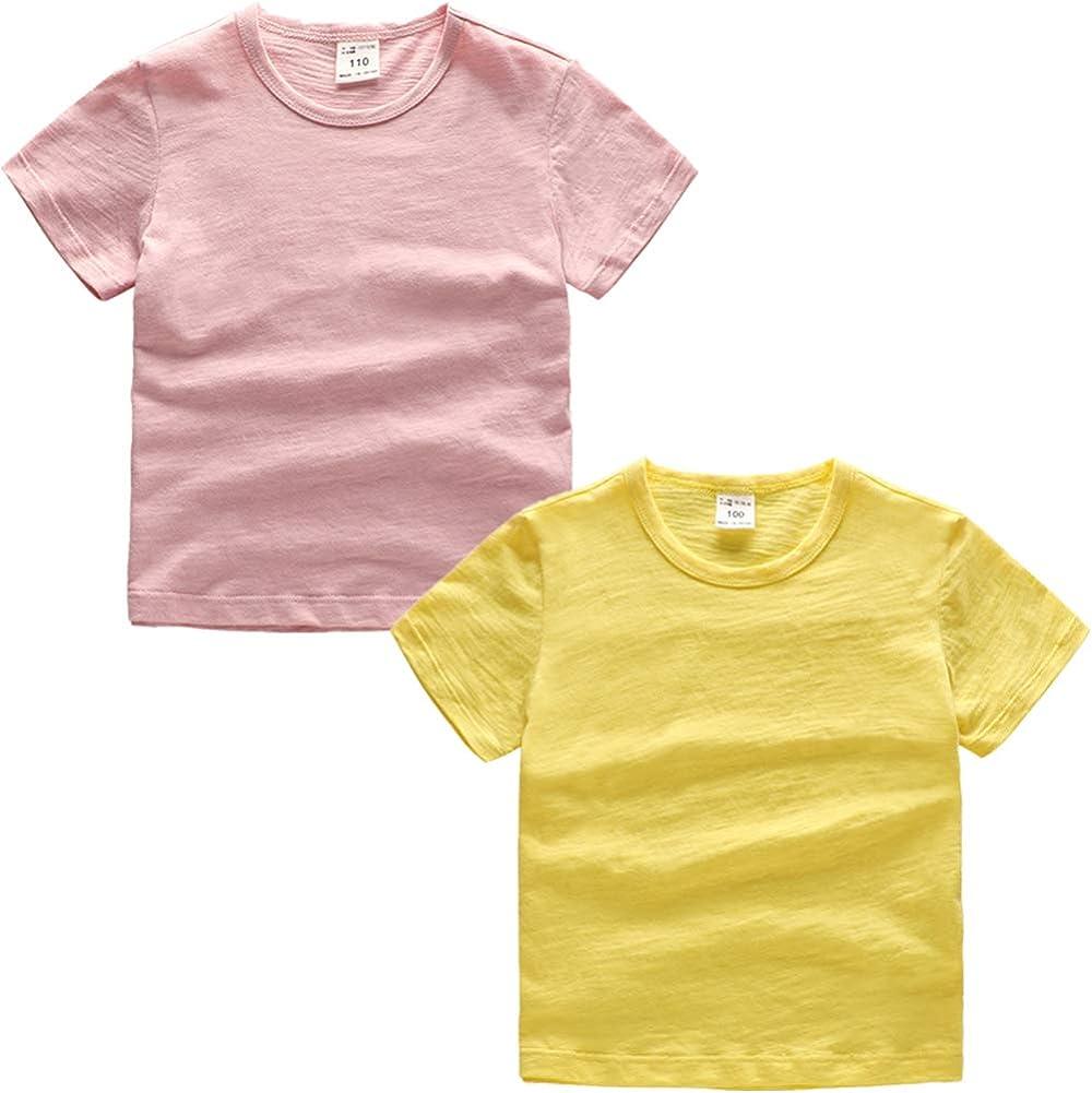 PTPuke Kids Solid Cotton Comfort Soft Boys Girls Casual Short-Sleeve top T-Shirts Undershirt Size 1-7 Years