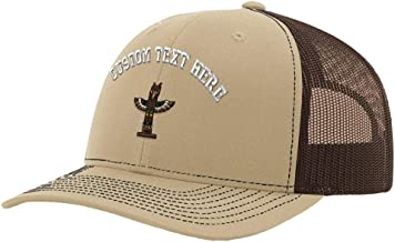 Custom Richardson Trucker Hat Totem Pole Embroidery Design Mesh Baseball Cap