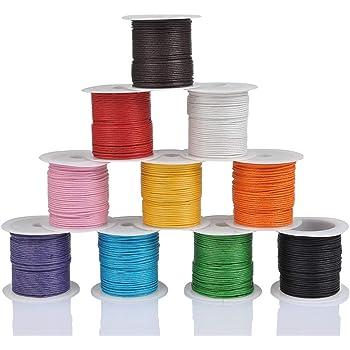WOWOSS 10 Rollos Hilo Cuerda - Encerado Joyería Cordón Cable 10m DIY Cordón de Algodón para Collar Pulsera Abalorios Cuerda para Manualidades(10 Colores): Amazon.es: Hogar