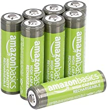 AmazonBasics AA High-Capacity Ni-MH Rechargeable Batteries (2400 mAh), Pre-charged – Pack of 8
