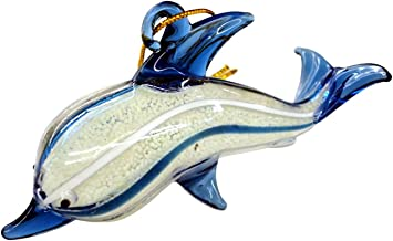 Beachcombers Glass Dolphin Ornament, Glows in the dark 04029 4 Inches