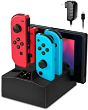 $21 » Joy-Con Charging Dock, 5 in 1 Charger Stand Station for Nintendo Switch Joy-Con Controllers and Console with AC Adapter and Individual LED Indicator