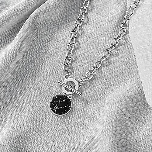 DALIANMAO Collar para Mujer Minimalista Casual Cadena Cadena de Pulsera Redonda Colgantes de mármol. Joyería Femenina (Metal Color : Marble Necklace)
