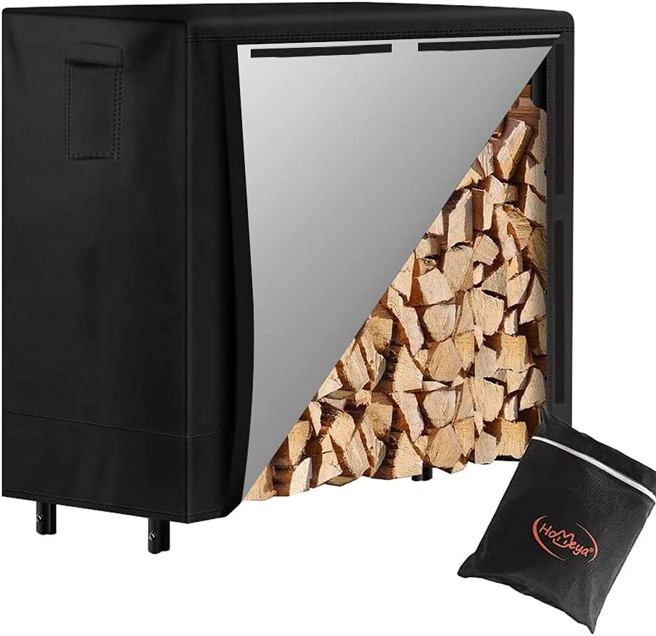 Luxury goods Log Rack Cover 4 feet Homeya Firewoo Waterproof 420D Seattle Mall Heavy Duty