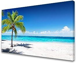 Baisuart-S03969 Large Canvas Wall Art Summer Ocean Waves Prints Coconut Trees on Sands Beach Seascape Painting Sea Nature ...