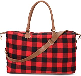 Buffalo Plaid Weekender Bag Duffle Bag For Women Large Travel Tote Bag Overnight Weekend Bags With Shoulder Strap(Red)