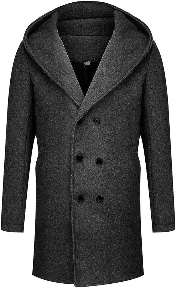 lookwoild Mens Long Double Breasted Trench Coat Gentlemen Formal Wear Jacket Overcoat Outfits Pea Coats (Hooded-Black, XL)