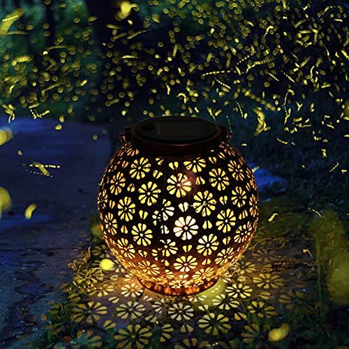 LED Solarlaterne für Außen,LOOHAOC Solar Garten Hängende Laterne Retro Runde Laterne Wasserdicht IP44, für Innenhöfe,Rasenflächen, Balkone, Tore verwendet werden(Bronze)