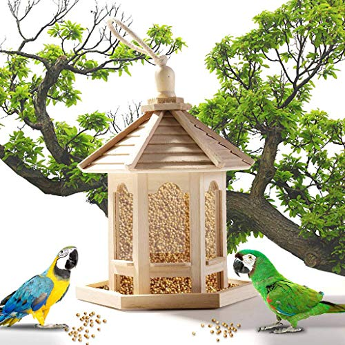 Bird Feeder, Wooden Bird Feeder Hanging for Garden Yard Decoration Hexagon Shaped With Roof
