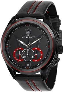 ساعة جلد دائرية انالوج بعقارب وخياطة مختلفة اللون للرجال من مازيراتي R8871612023 - اسود واحمر