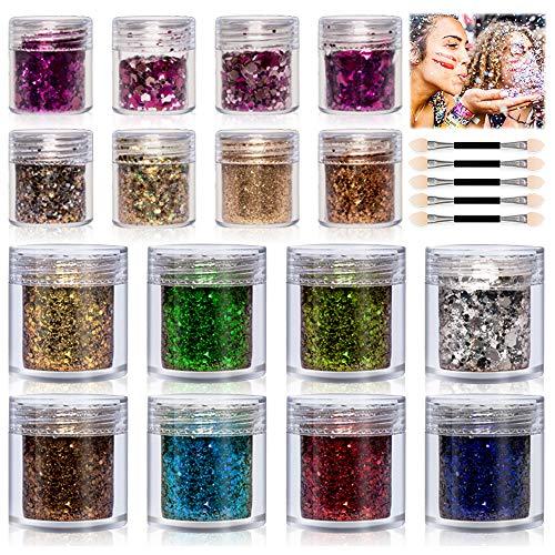 Glitzer Für Gesicht Körper Glitzer - 16 Boxen Glitter Make Up Set - Kosmetik Haar nägel Art Dekorative für Slime Party Halloween Weihnachten Kunsthandwerk schminke schminkset kinderschminke(10ML)