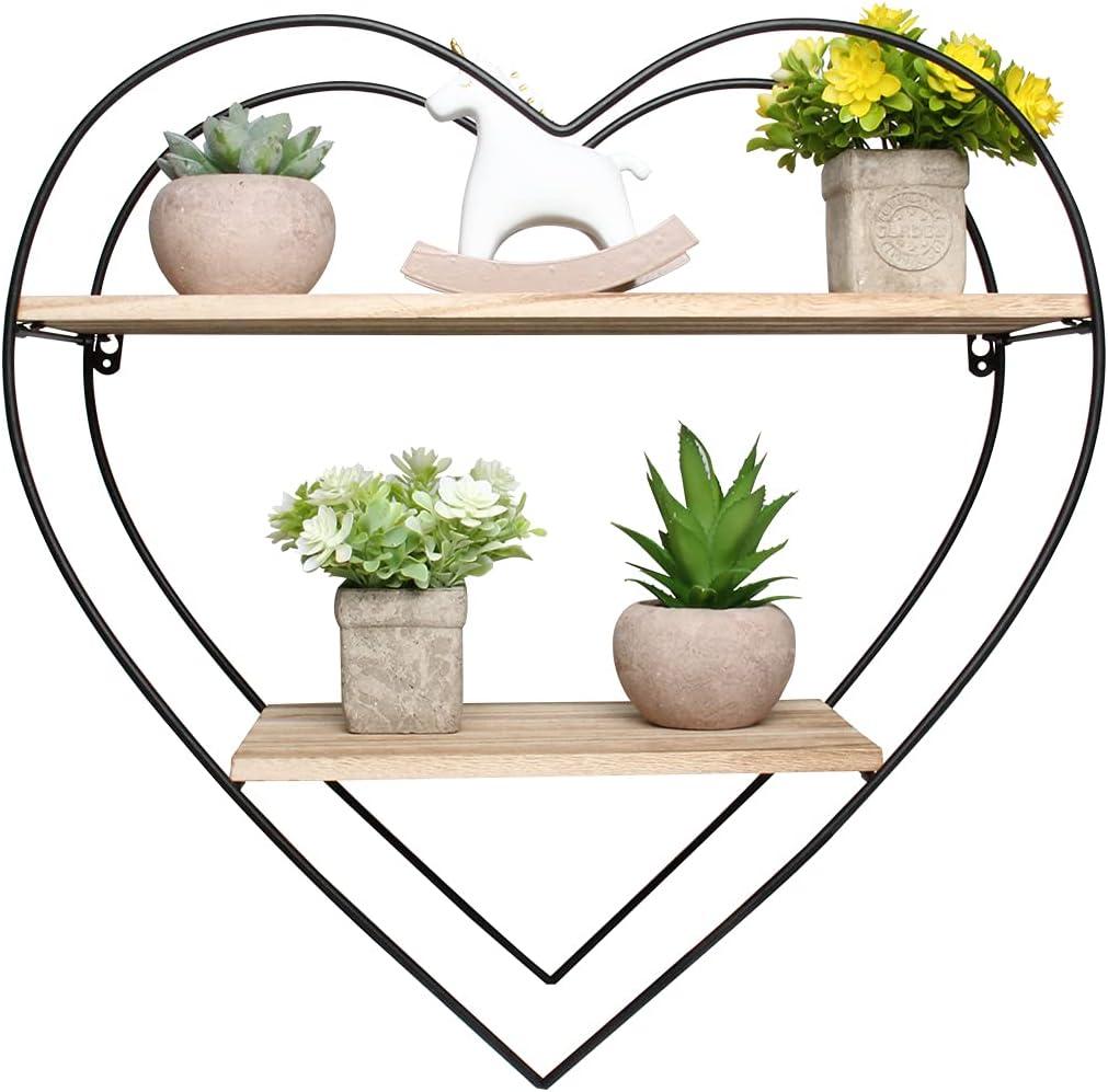 Heart Metal Wall Shelf, UNIMORE Iron Wood Floating Wall Shelves