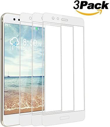 [3 Pack] Huawei P10 Lite Screen Protector Tempered Glass, Rosa Schleife Full Coverage Anti-scratch Bubble-Free Clear 9H Hardness Explosion-proof Tempered Glass Screen Protector for Huawei P10 Lite