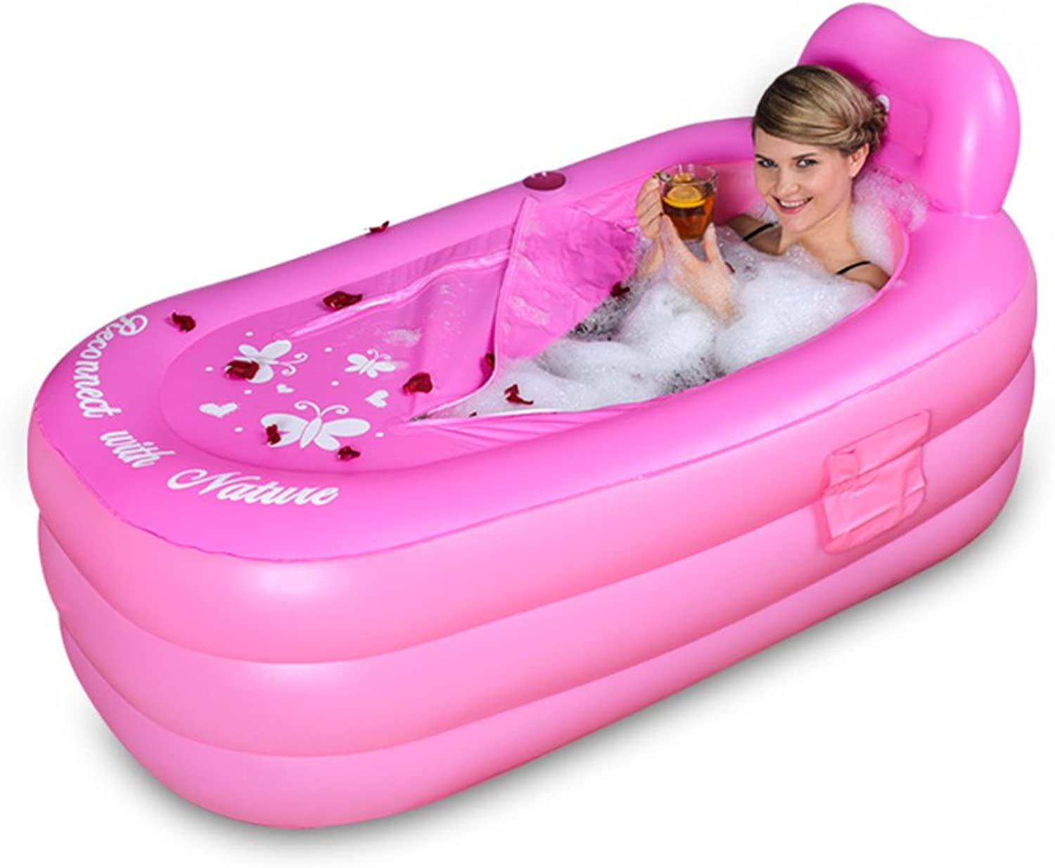 Bathtubs Soaking Baths Inflatable adult Thickening Family shower Insulation swimming pool (color   Pink, Size   130  80  70 cm)
