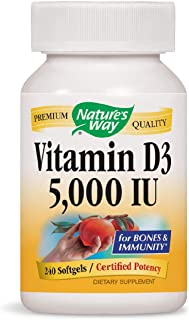 Nature's Way Vitamin D3 5000 IU; 5000 IU per Serving; 240 Softgels