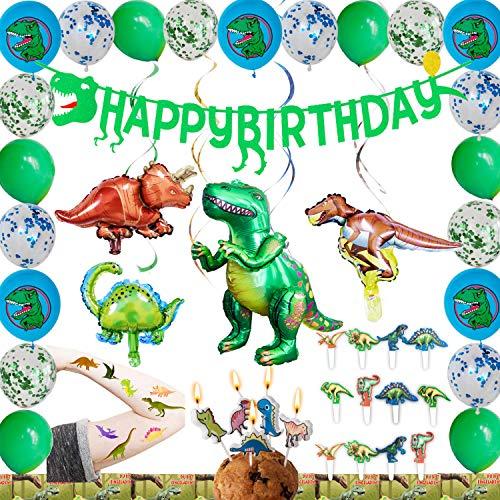 LumeeStar Dinosaurier Party-Set Geburtstagsdeko Girlande 83pcs Folienballon Einladungskarten Kerzen Cupcake Topper Tattoos