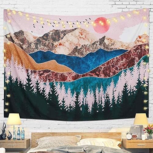 Richaa - Arazzo con tramonto e albero della foresta, paesaggio psichedelico, per camera da letto, soggiorno, decorazione da parete (130 x 150 cm)