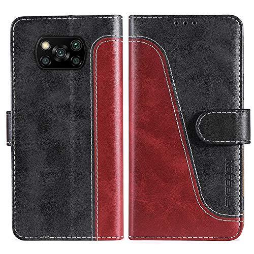 FMPCUON Handyhülle für Xiaomi Poco X3 NFC Hülle Leder,Premium Klapphülle Handytasche Flip Hülle Handy Hüllen Schutzhülle für Xiaomi Poco X3 NFC,Rot/Schwarz