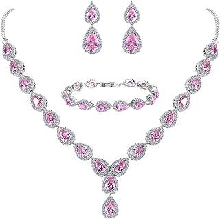 Clearine Femme Mariage Parure Goutte Cubic Zircon Infinity Figure 8 Y-Collier Tennis Bracelet Pendante Boucles d'oreile Série