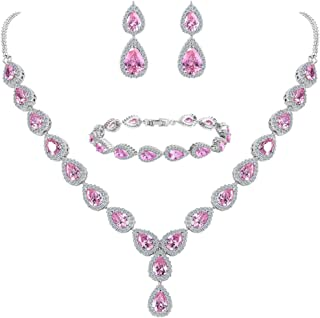 Clearine Women's Wedding Bridal Teardrop CZ Infinity Figure 8 Y-Necklace Tennis Bracelet Dangle Earrings Set