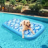 EXPAWLORER Inflatable Dog Pool Float - Ride On Pool Raft Toy for Pets Swiming Pool Games Floating Raft with Cute Paw Design for Large Dogs - 60 x 30 inch