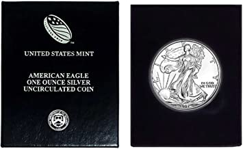1997 - American Silver Eagle in Plastic Air Tite and Blue Gift Box with our Certificate of Authenticity Dollar Uncirculated Us Mint