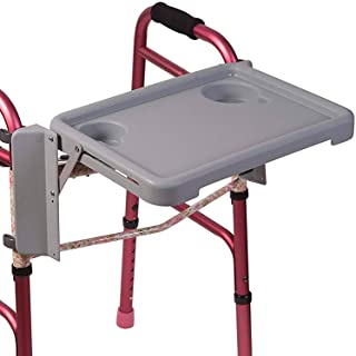 DMI Universal Folding with Two Cup Holders and Tool Free Setup Walker Tray 1 Count