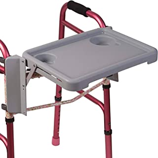 DMI Tool Free Folding Walker Tray with Two Cup Holders that Fits Most 18 inch Walkers, Tray Dimensions are 16 inches x 11 3/4 inches, Gray