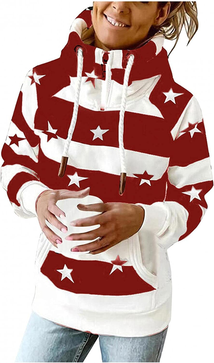 Gibobby Hooded Sweatshirts for Women 1/4 Zipper Pullover Turtle Neck Long Sleeve Stripe Drawstring Hoodies with Pockets